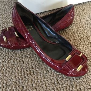 Red patent Burberry flats